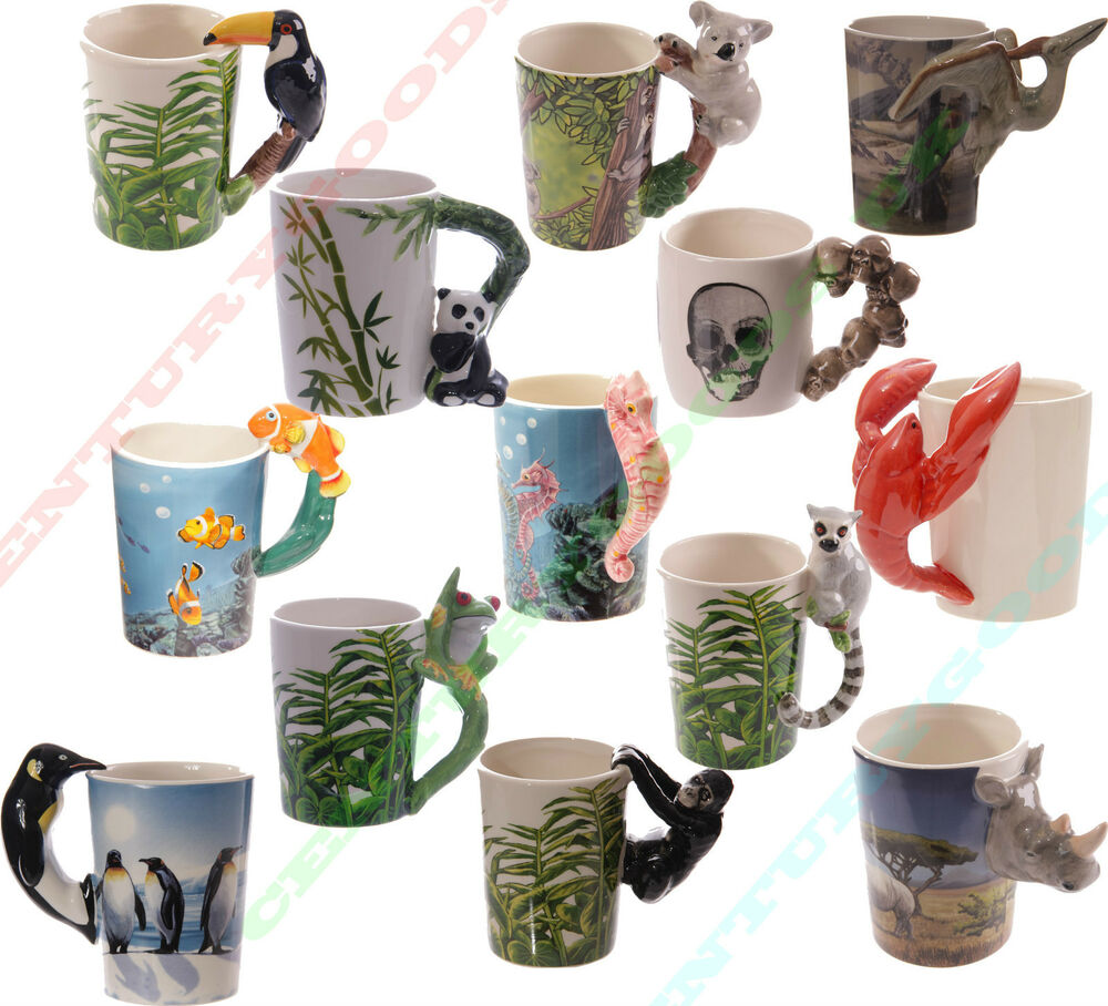 Various Novelty Shaped Handle Animal 3d Ceramic Coffee