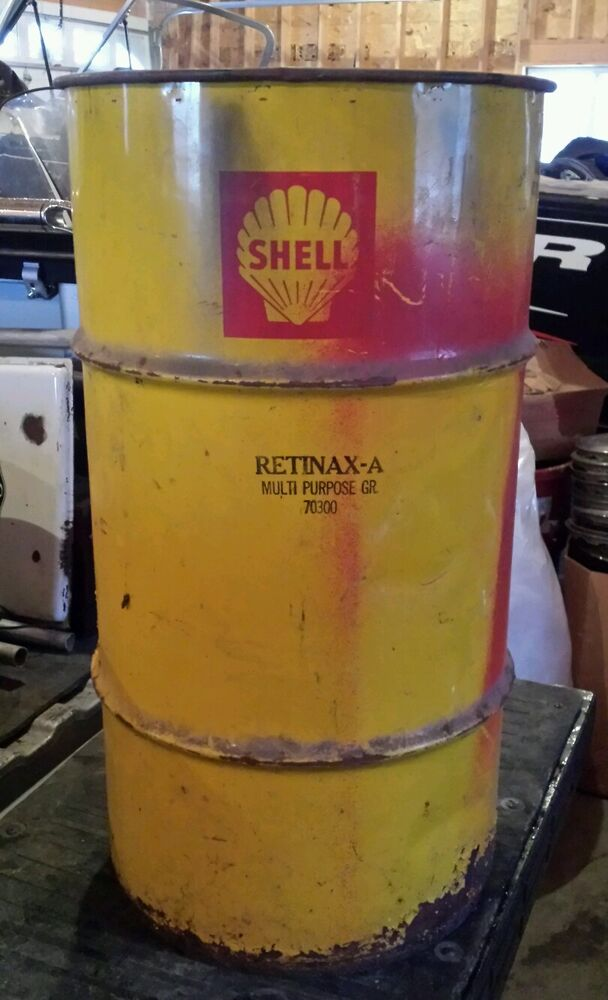 Vintage shell company 15 to 20 gallon oil can drum for Motor oil by the drum