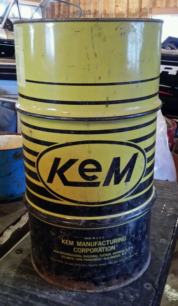 Vintage kem motor oil metal can drum barrell grease gas 15 for Gallon of motor oil