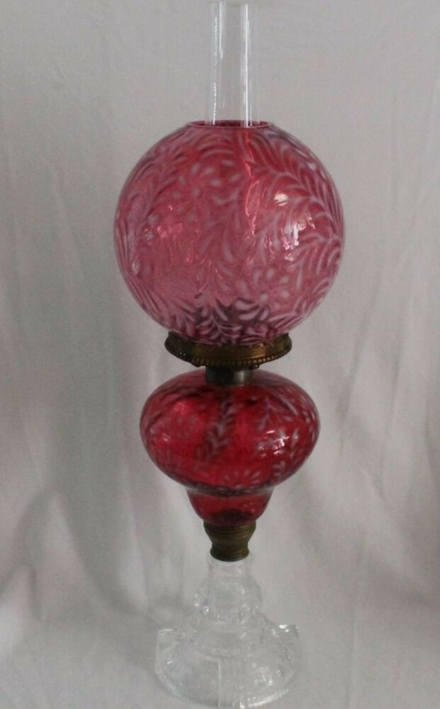Oil lamp shade antique glass hanging lamps antique hanging oil lamps - Antique Daisy Amp Fern Oil Lamp Cranberry Very Large Ebay