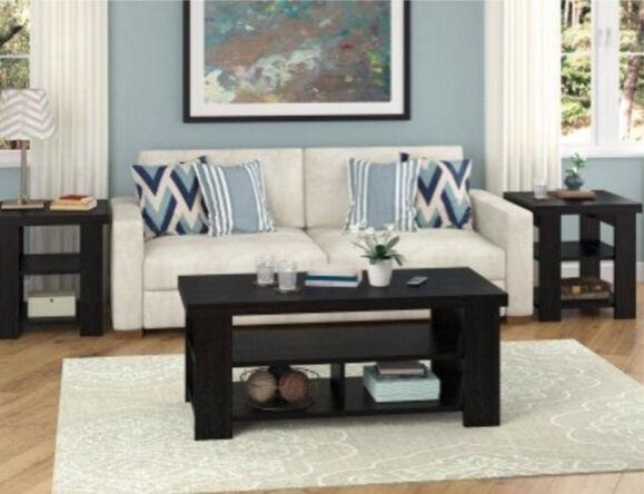 Modern coffee table wooden black sofa tables living room for Black living room furniture