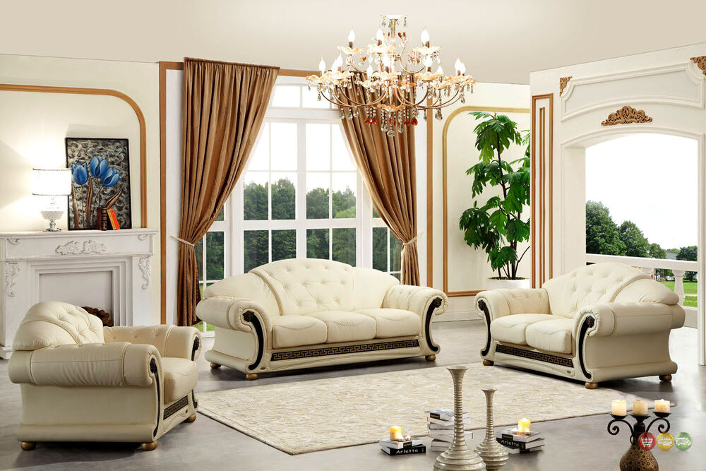 Versace Cleopatra Cream Italian Leather Living Room Sofa Loveseat Chair 3 Pc Set Ebay
