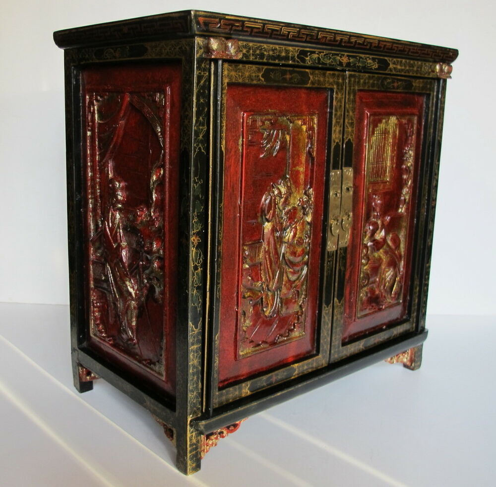 Rare Antique Chinese Red Lacquer Gilded Jewelry Cabinet