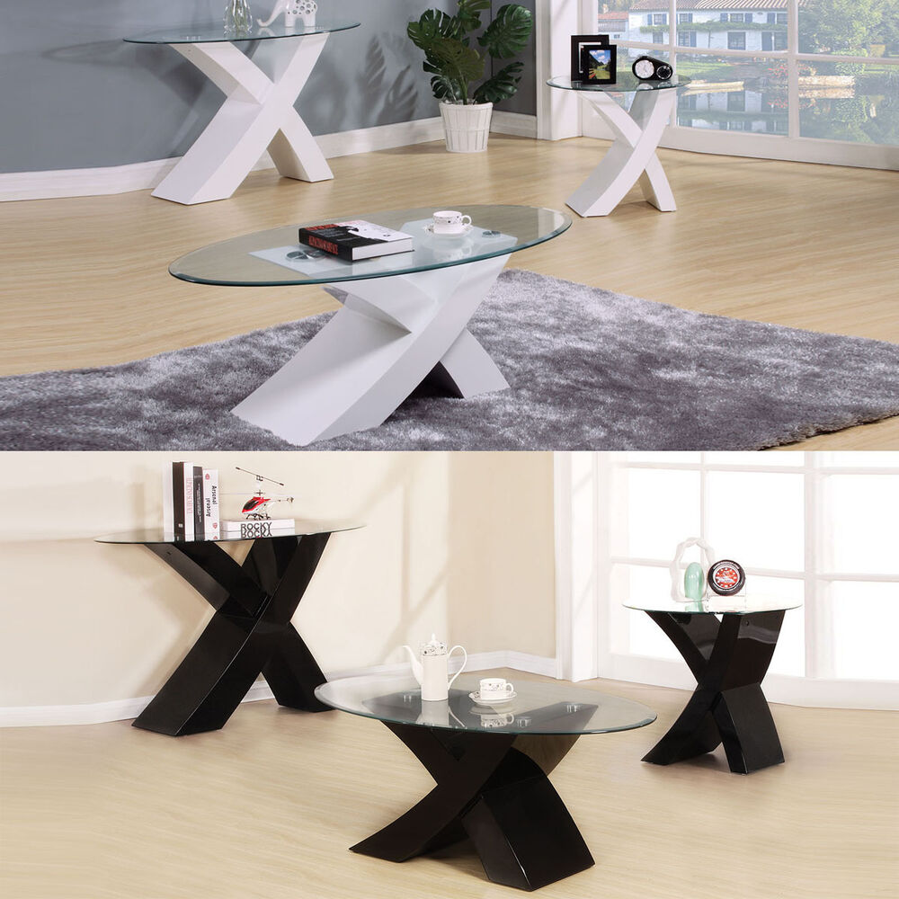 Glass Top Coffee Tables: White Black Clear Tempered Glass Top X Shape Stand Coffee