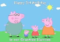 Personalised A5 Peppa Pig Birthday Card Any Relation Age Son Daughter Niece 2 3
