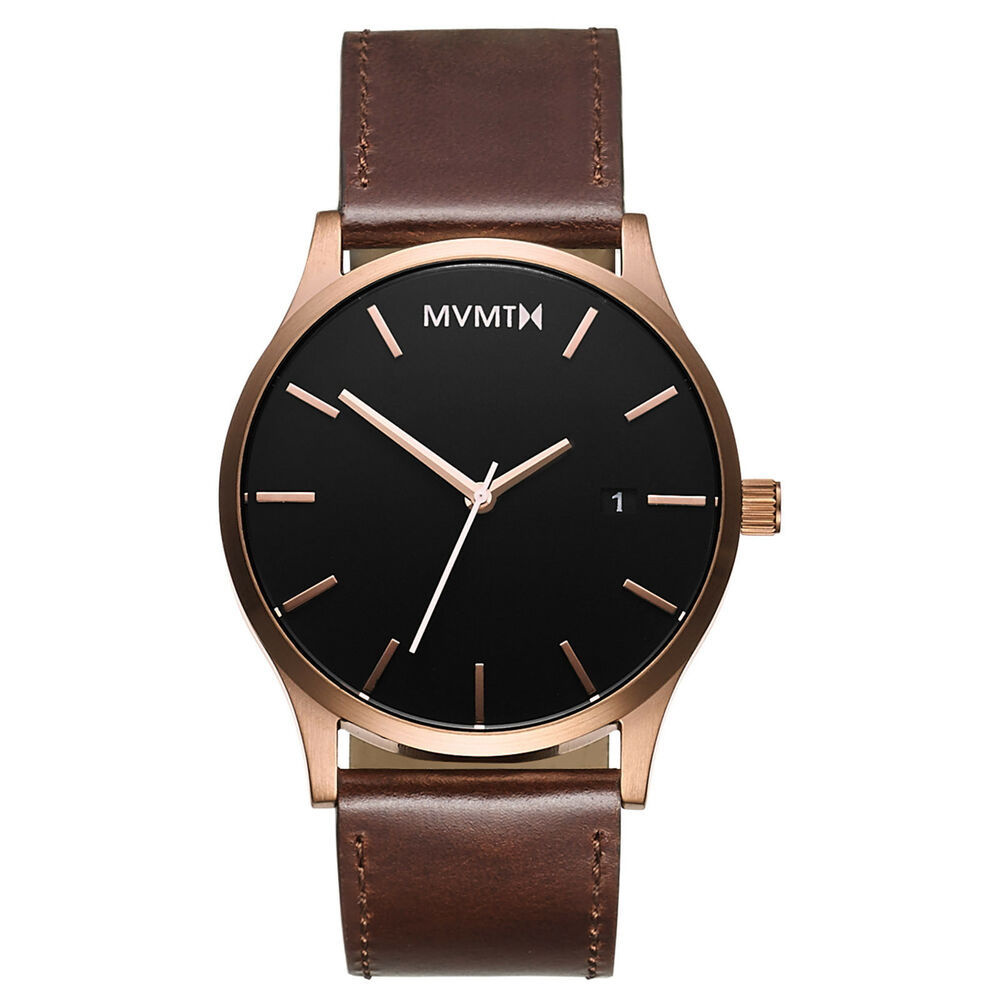 Mvmt watches rose gold case with brown leather strap men 39 s watch original ebay for Leather strap watches