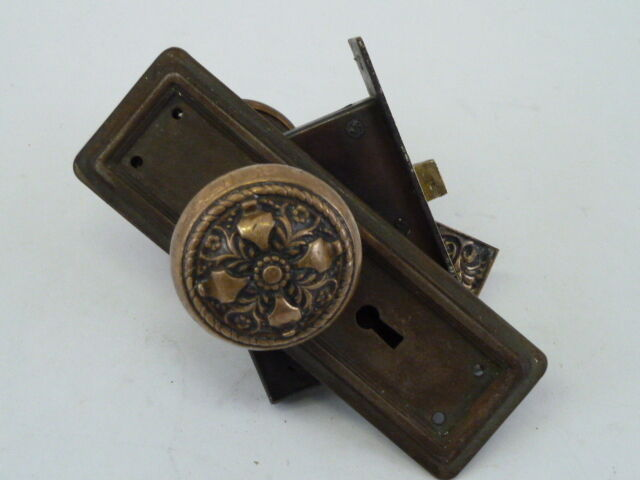 Antique Victorian Brass Door Knob And Covers With Mortise