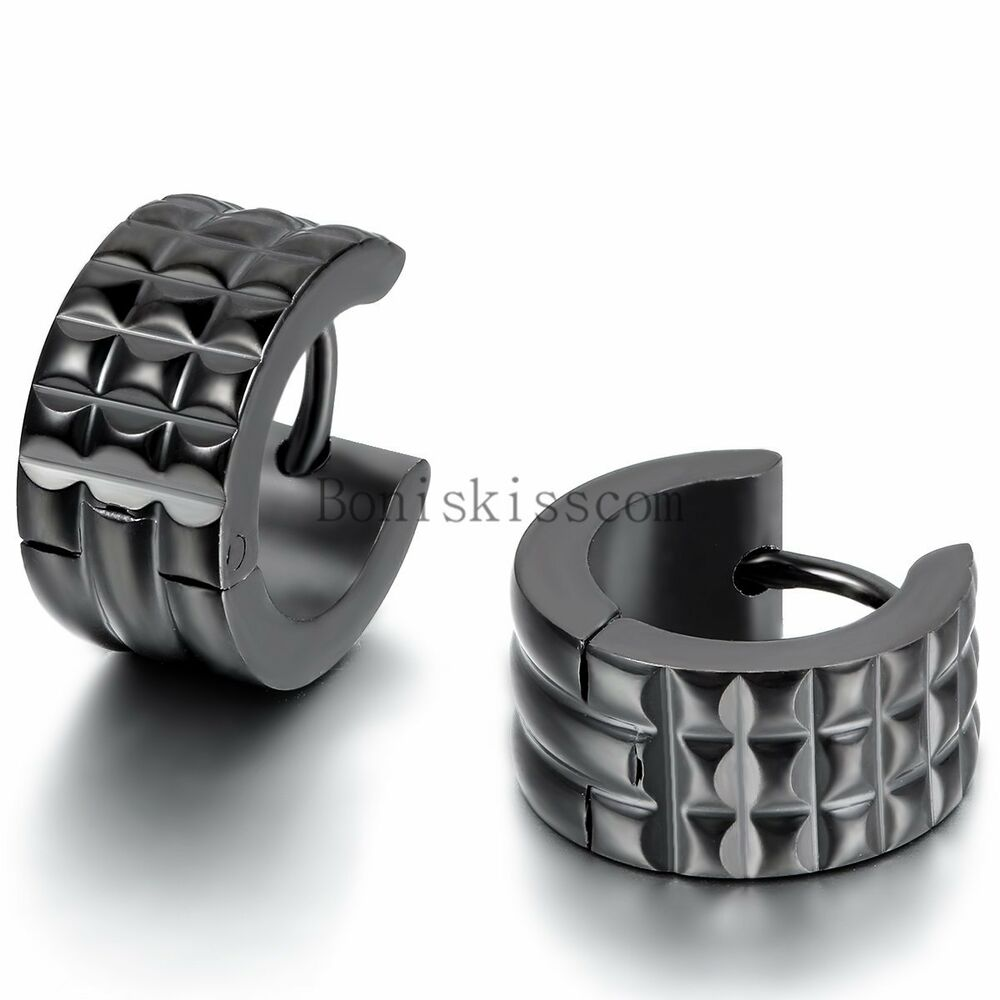 Men 39 s fashion stainless steel charm classic black wide for Men s jewelry earrings