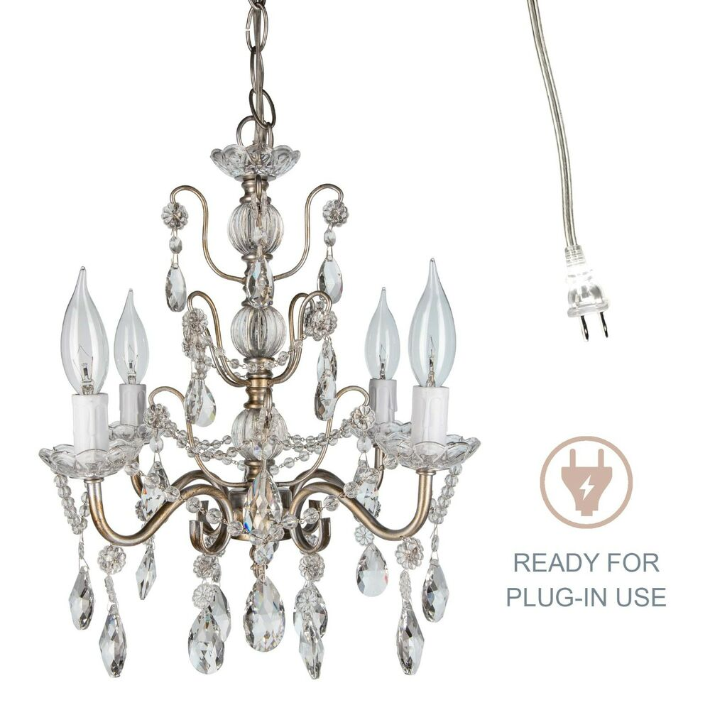 Vintage small crystal chandelier room plugin swag pendant lighting fixture lamp ebay