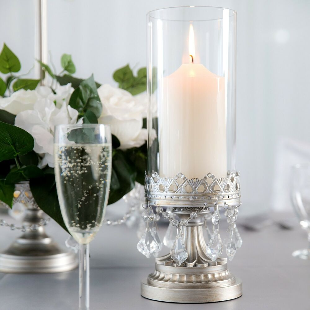 Hurricane candle holder antique crystal glass centerpiece for Glass home decor