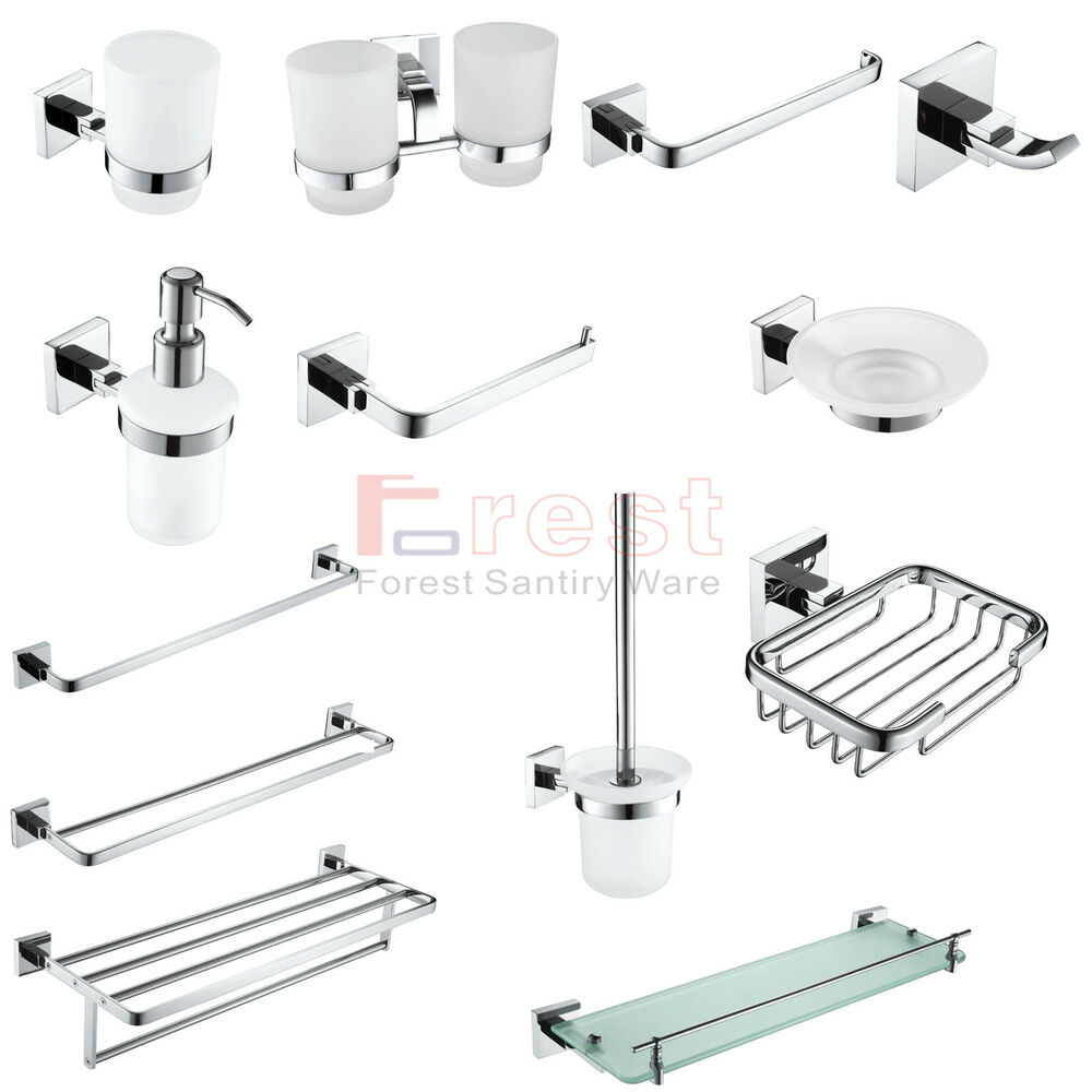 Modern square bathroom accessories set chrome finish wall for Quality bathroom fittings