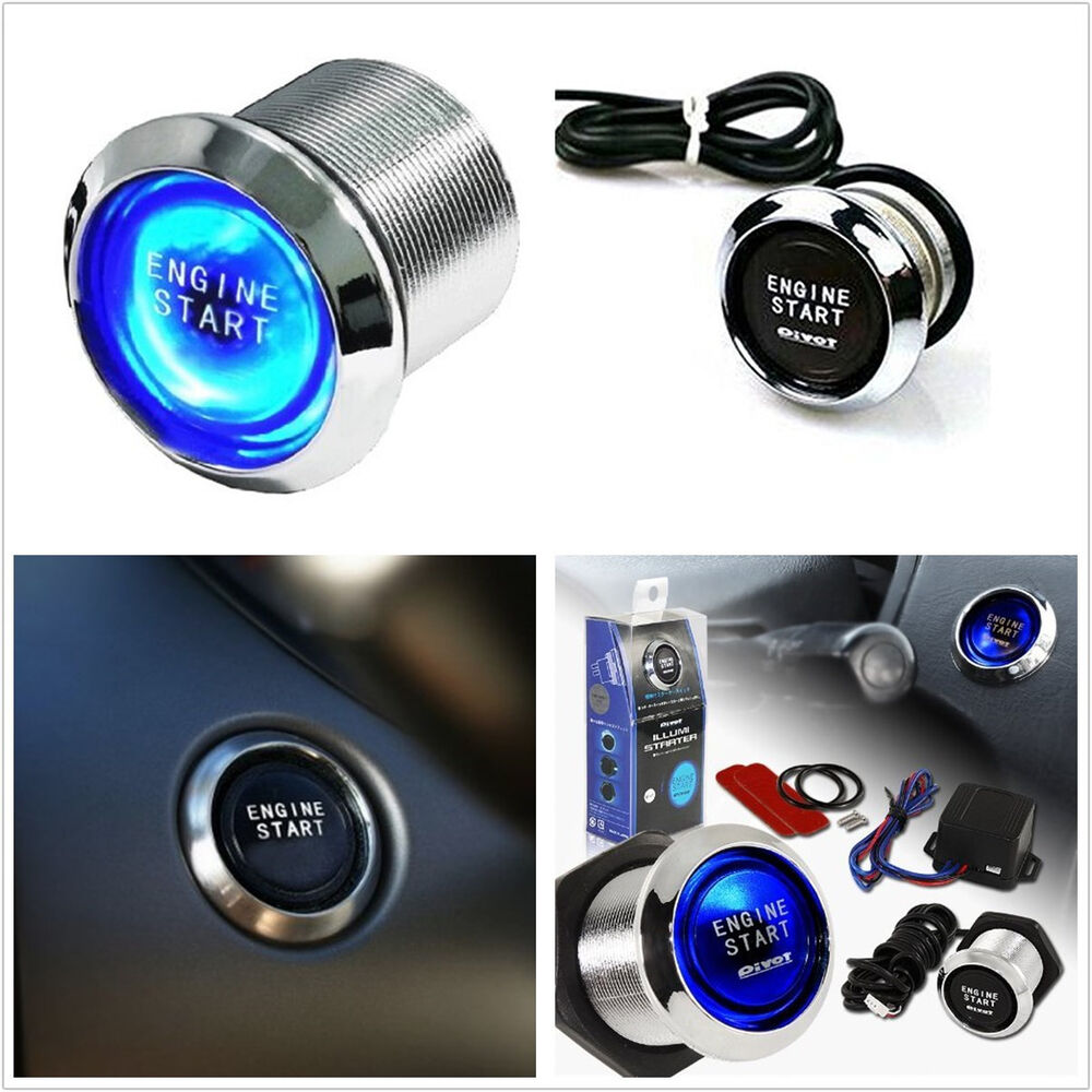 blue illuminated universal car push start button ignition engine starter switch ebay. Black Bedroom Furniture Sets. Home Design Ideas