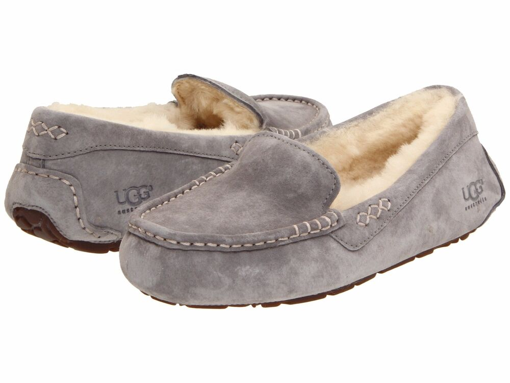 Women S Shoes Ugg Ansley Moccasin Slippers 3312 Light Grey