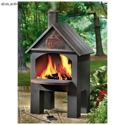 cooking chiminea outdoor fire grill fireplace firepit pit bbq stove pizza oven ebay. Black Bedroom Furniture Sets. Home Design Ideas