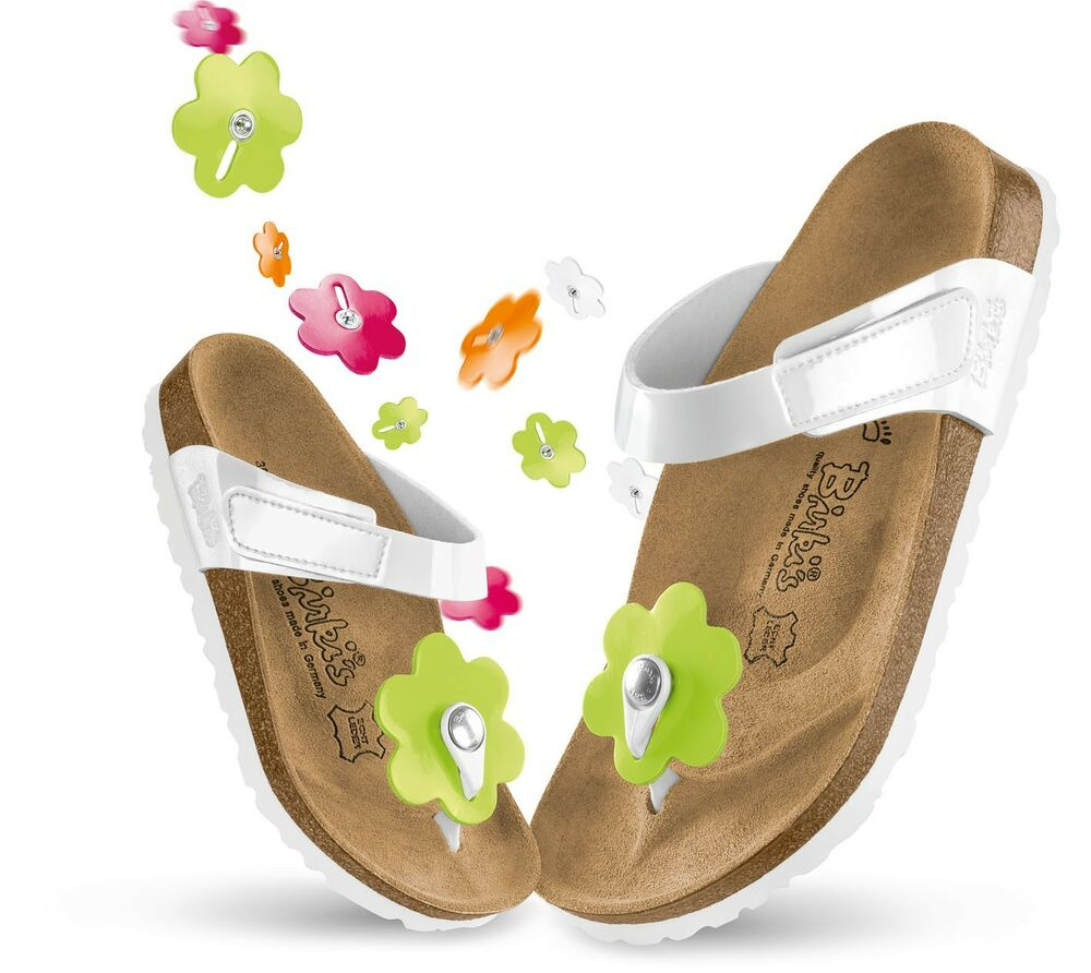 64ee84b37a2 Details about Birkis Birko-Flor Tofino  129rrp Flowers White Patent Kids  BNIB    CLEARANCE