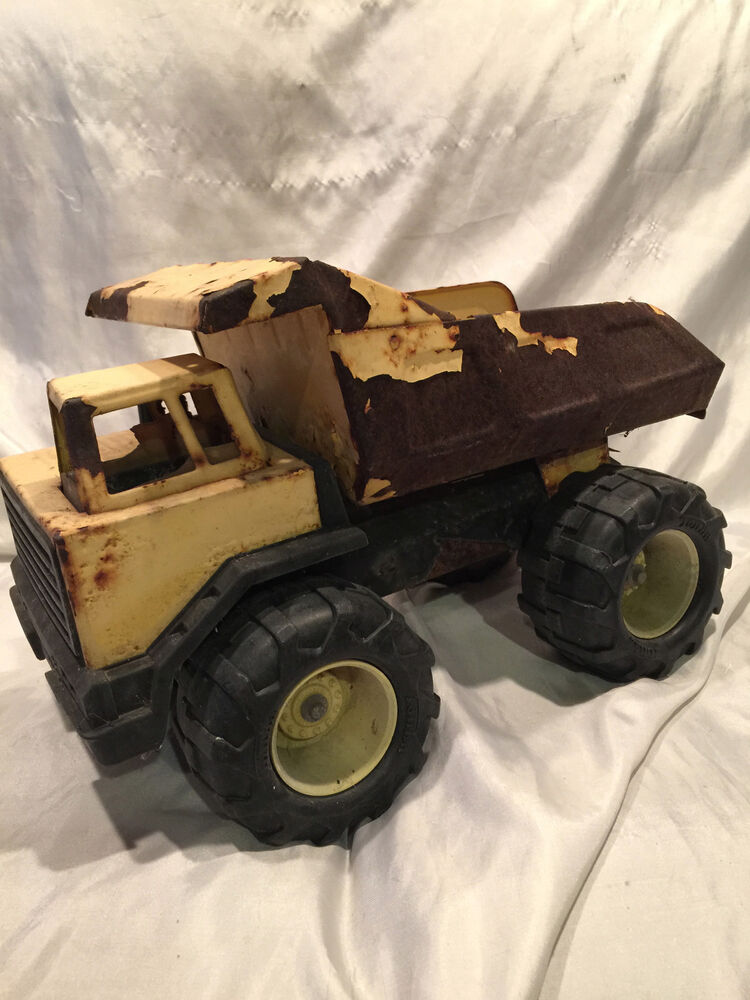 collectible old vintage yellow pressed steel tonka dump
