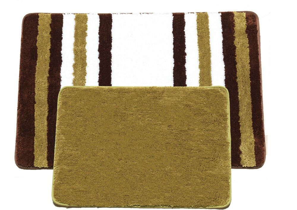 Luxury Plush Bath Mat Set 2 Rectangular Bath Rugs