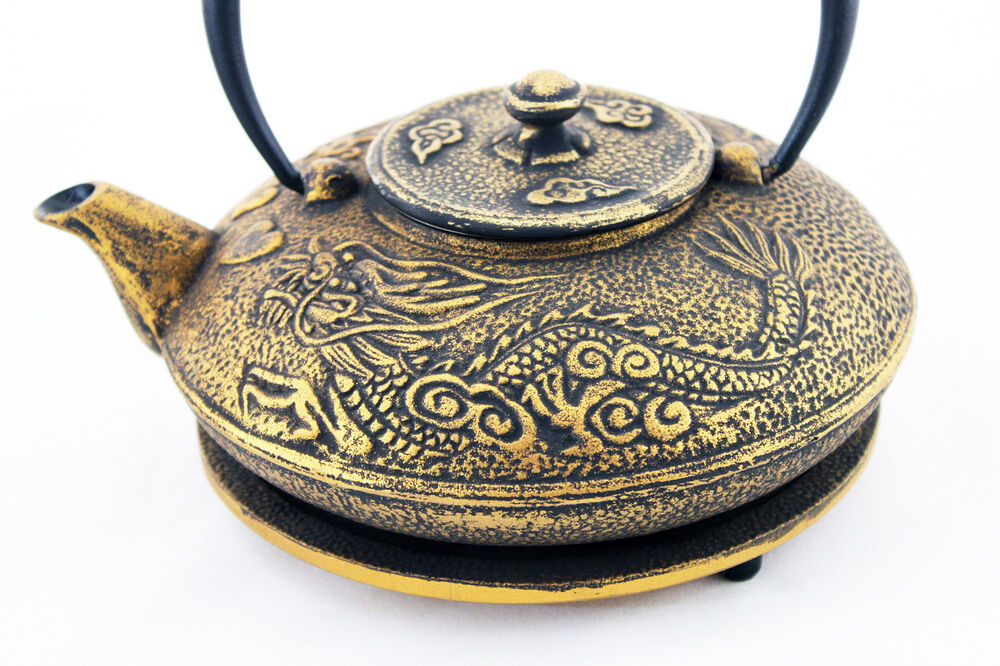Cast iron tetsubin teapot dragon and phoenix black with gold overlay 24oz ebay - Cast iron teapot dragon ...