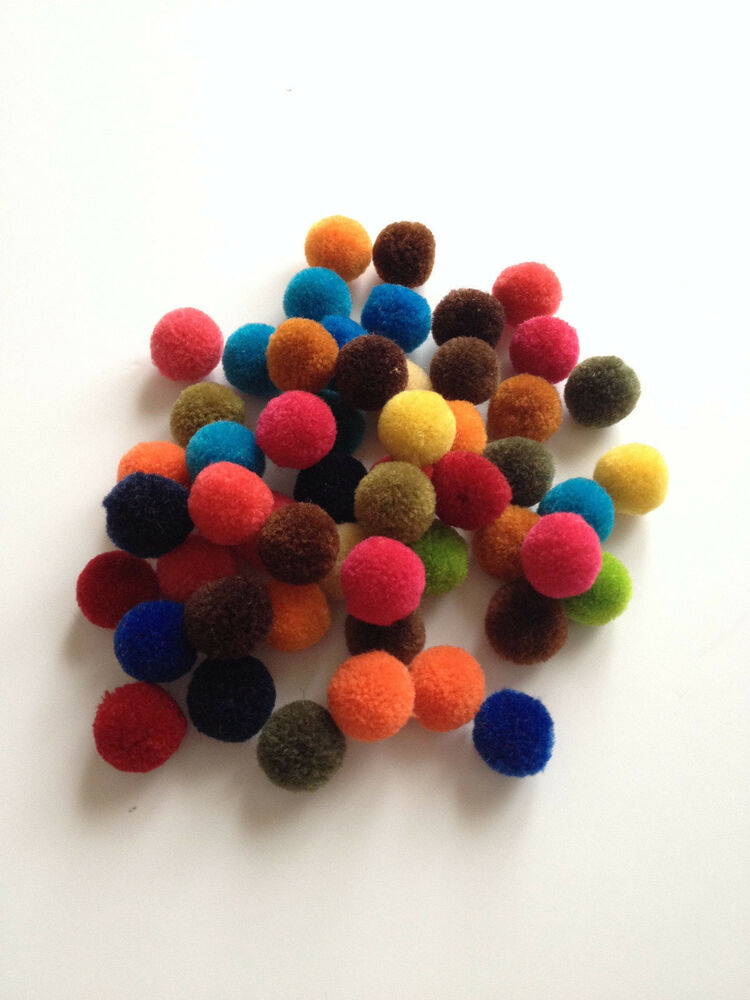 50 pcs assorted pom poms pompoms balls childrens diy crafts ball 5 8 16mm dia ebay. Black Bedroom Furniture Sets. Home Design Ideas