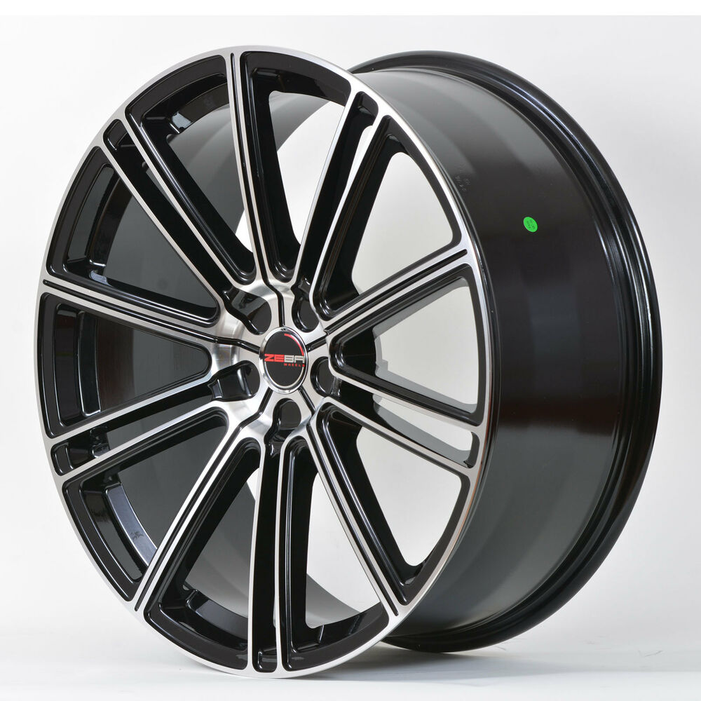 4 GWG Wheels 22 Inch STAGGERED Black Machined FLOW Rims
