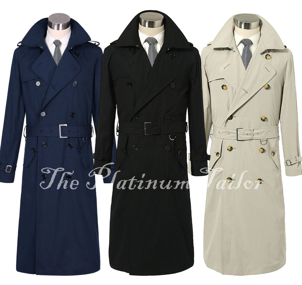 herren traditionell zweireihig lang trenchcoat regen baumwolle ebay. Black Bedroom Furniture Sets. Home Design Ideas