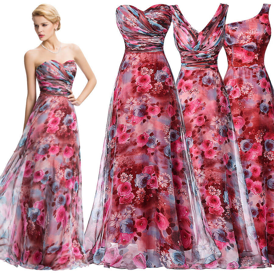 Long Gowns For Wedding Guests: Floral Wedding Guest Long Short Evening Gowns Party Formal