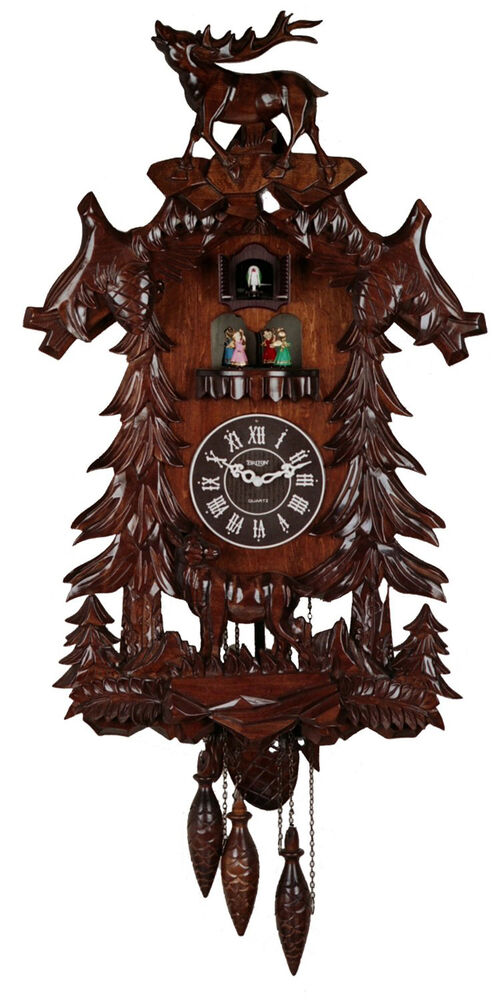Cuckoo Clock Wood Large Handcrafted Deer with 4 Dancing ...