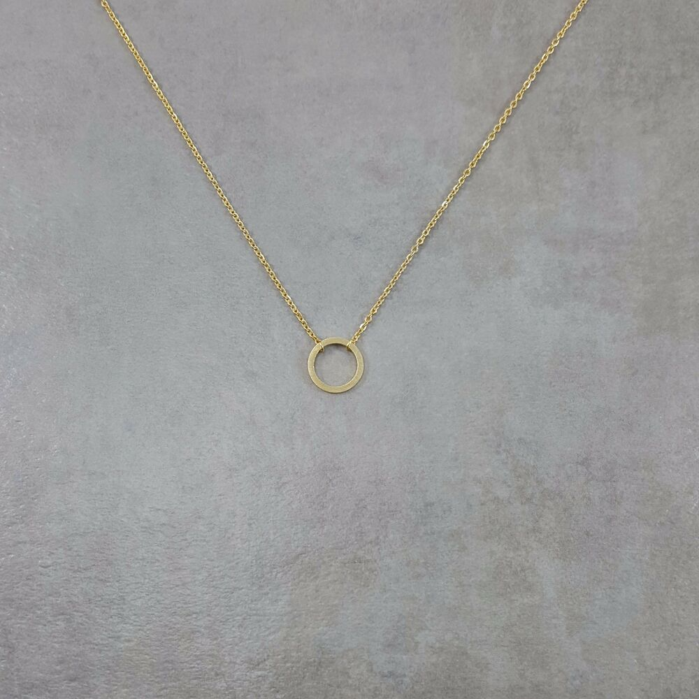 dainty thin circle necklace 18k gold plated charm pendant. Black Bedroom Furniture Sets. Home Design Ideas