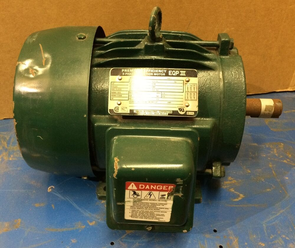 Toshiba 3 phase induction motor eqp iii 5 hp 230 460v for 3 phase induction motor