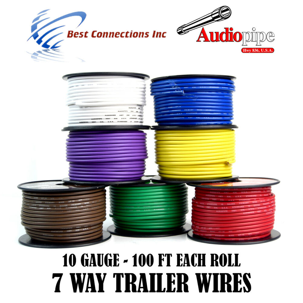 7 Way Trailer Wire Light Cable For Harness 50 Ft Each Roll Wiring Diagram
