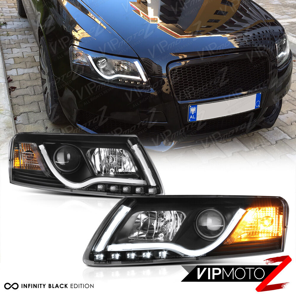05 08 audi a6 black projector headlight lamp led smd daytime driving lamps pair ebay. Black Bedroom Furniture Sets. Home Design Ideas
