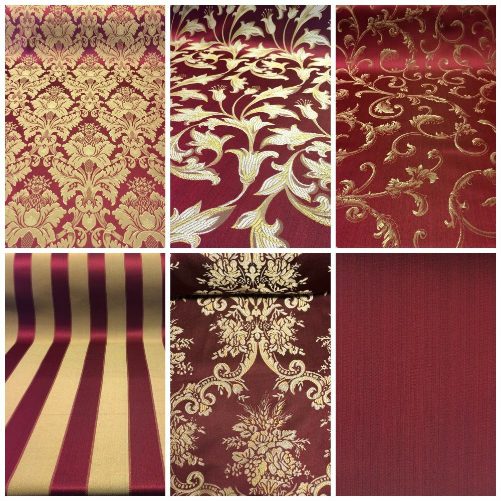 "Burgundy/Gold Damask Jacquard Brocade Fabric 118"" By The"