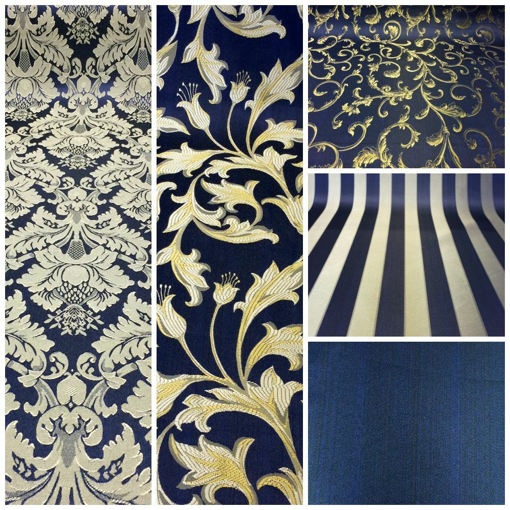 Navy Blue Gold Damask Jacquard Brocade Fabric 118 Quot By The