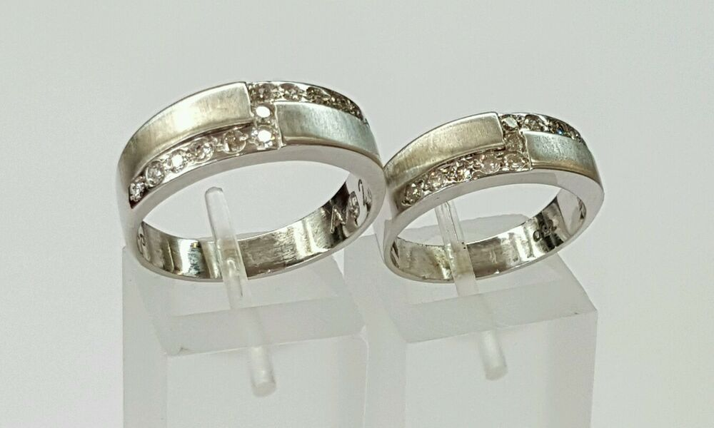 18k white gold genuine set of his and hers