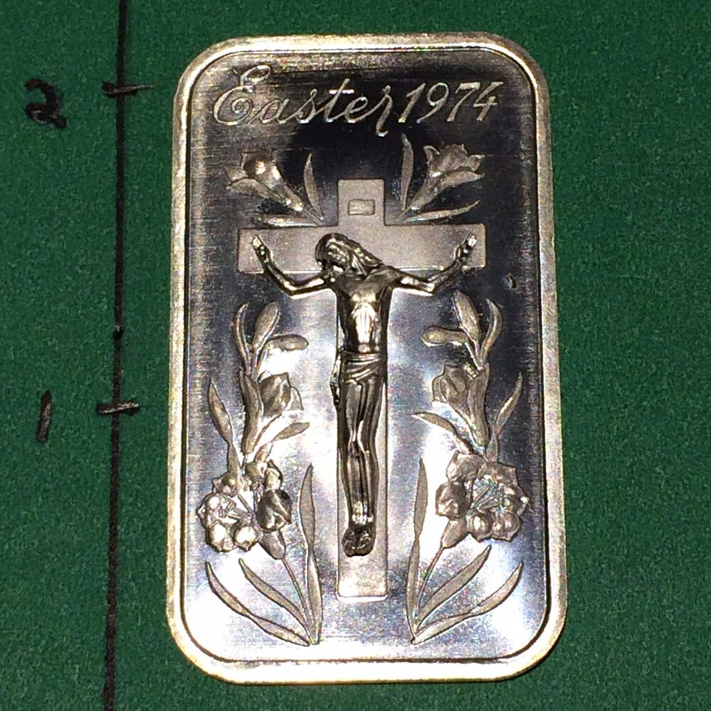 Madison Mint 1 Oz Silver 999 Jesus Crucifix Easter Bar