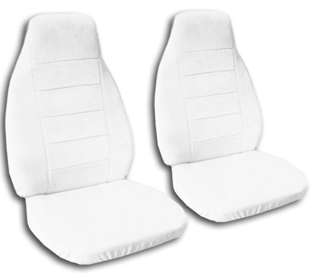car truck van seat covers in solid white canvas or velour front set ebay. Black Bedroom Furniture Sets. Home Design Ideas