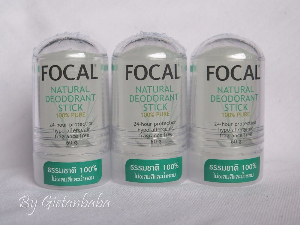 3 X Focal 100 Pure Natural Deodorant Roll On Stick Alum
