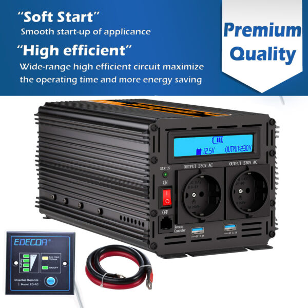 2000W 4000W Convertisseur 12V 220V Onduleur Power Inverter LCD Softstart 2 USB