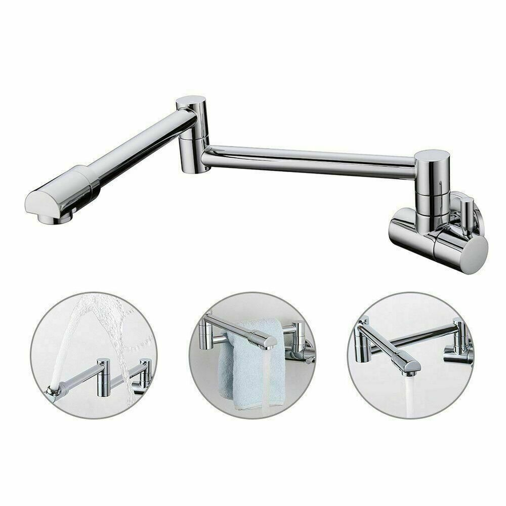 Wall Mount Pot Filler Kitchen Faucet With Double Joint Swing Arm ...