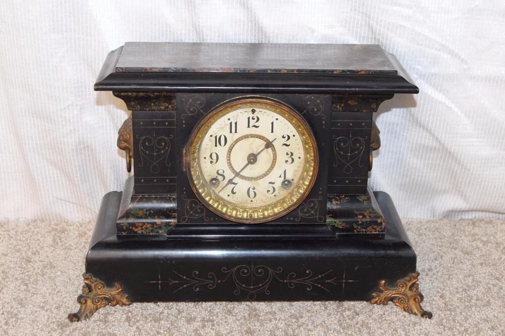 Antique Seth Thomas Adamantine Mantle Clock Made In 1898