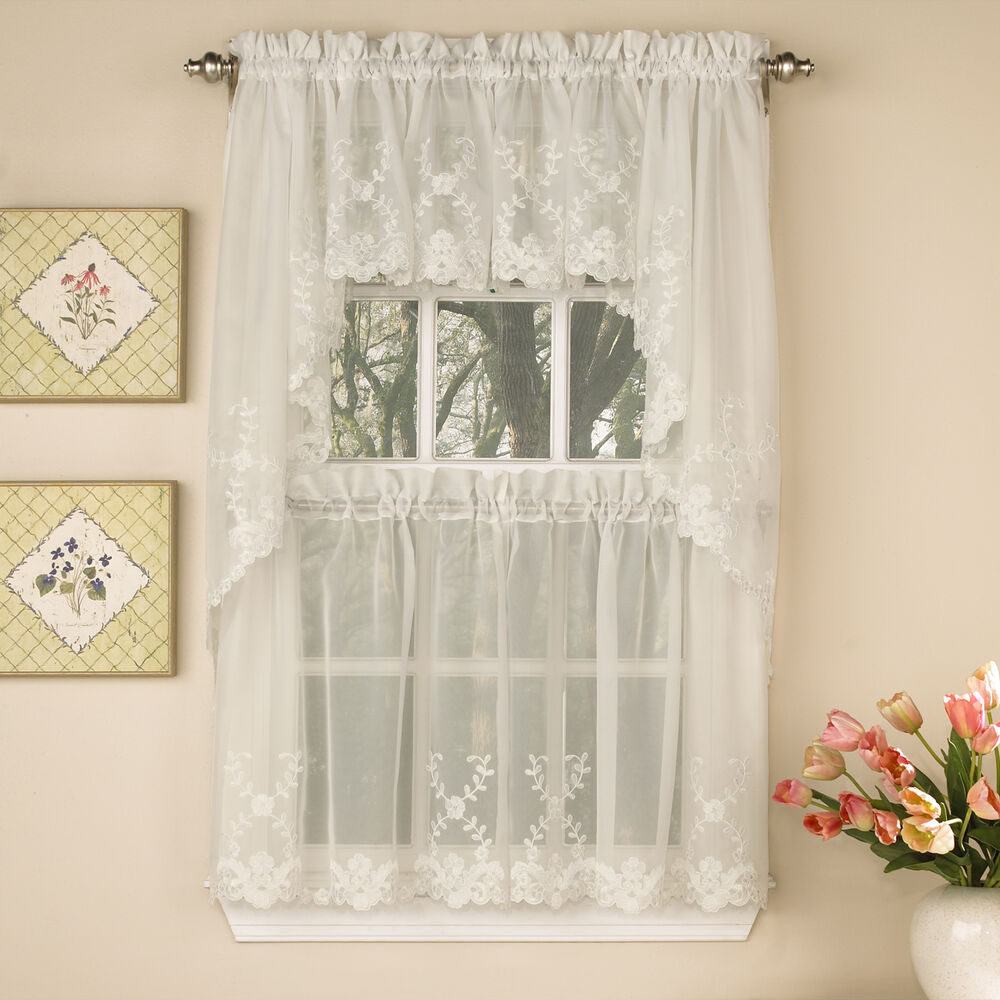 Laurel Leaf Sheer Voile Embroidered Ivory Kitchen Curtains Tier Valance Or Swag Ebay