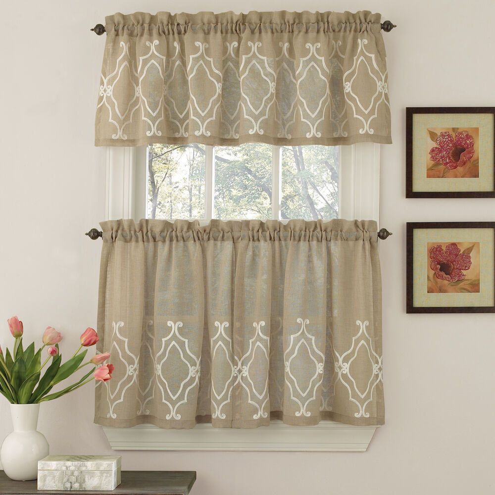 Kitchen Curtains And Valances: Carlyle Semi-Opaque Stitched Quatrafoil Mocha Kitchen
