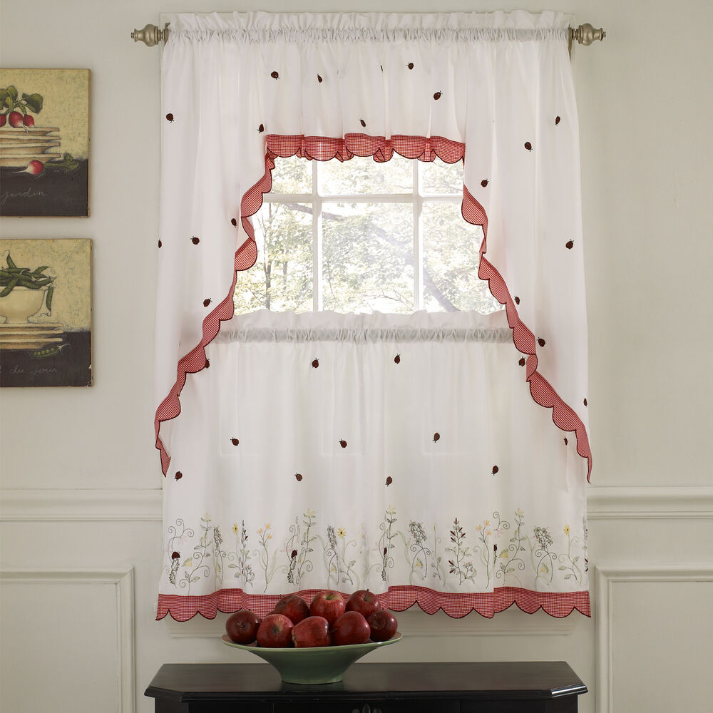 Kitchen Curtains And Valances: Embroidered Ladybug Meadow Kitchen Curtains Choice Of