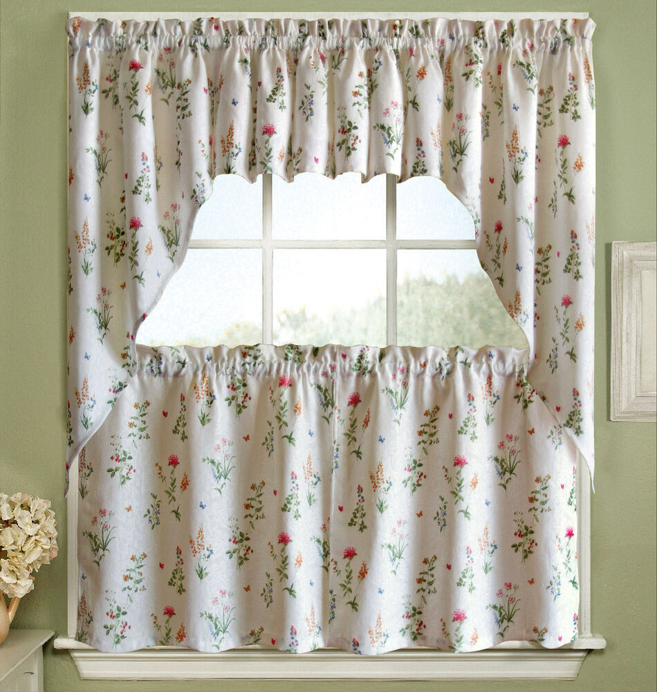 Floral white jacquard kitchen curtains tier valance or swag ebay
