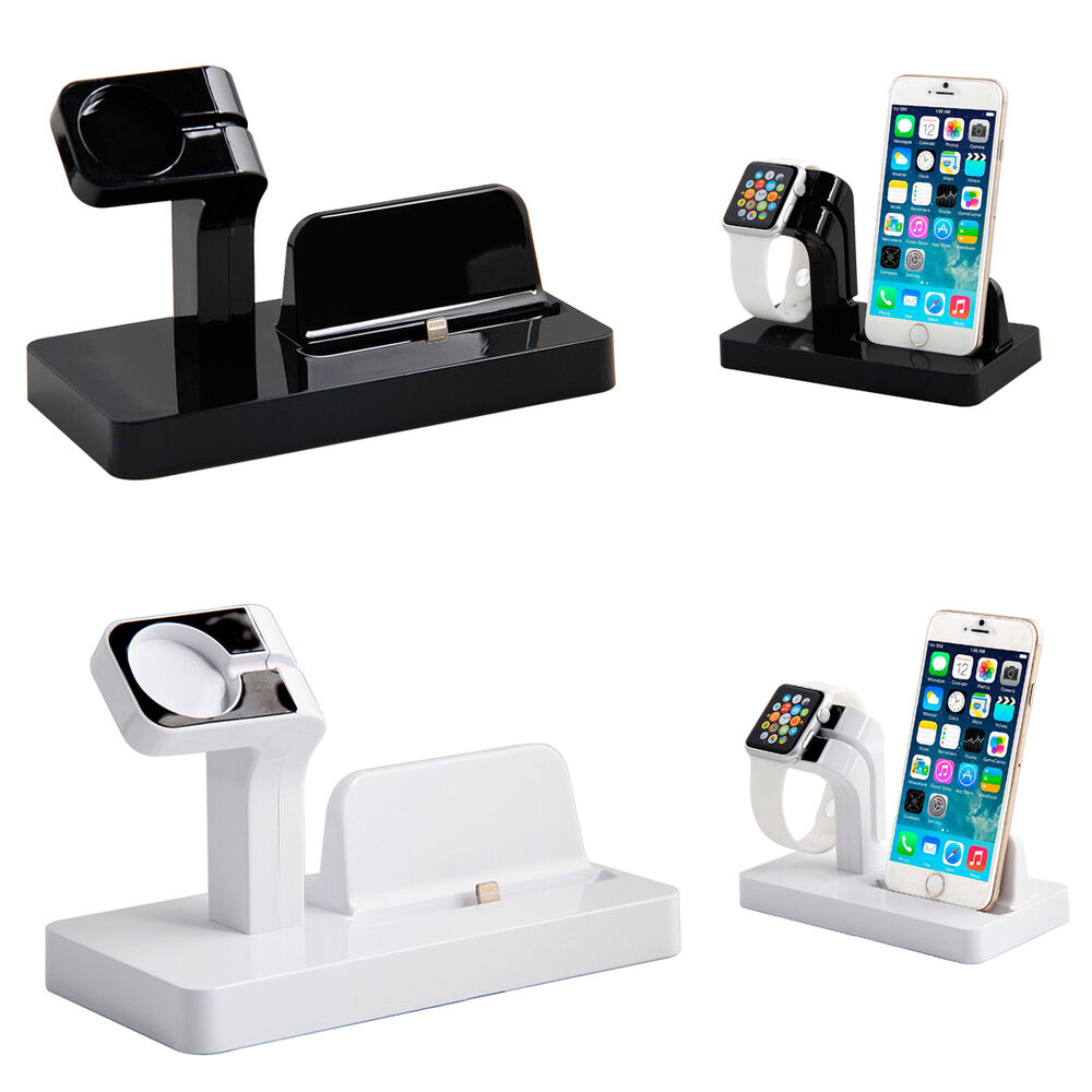 charging dock cradle stand charger for apple watch iphone 5 5s 6s 6 plus ebay. Black Bedroom Furniture Sets. Home Design Ideas