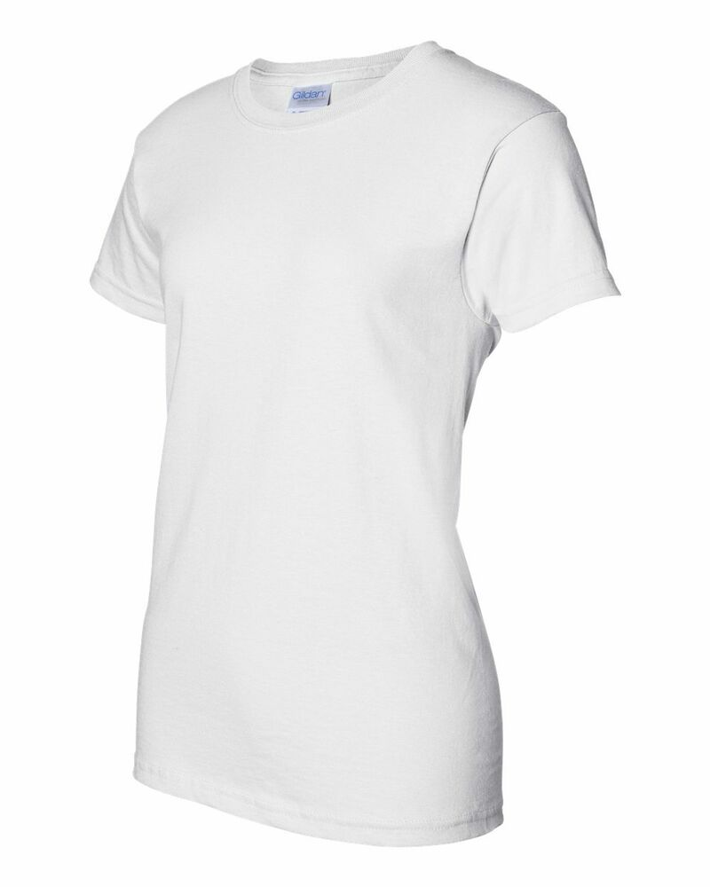 12 Gildan Ladies Heavy Cotton White T-Shirt 5000L Bulk Lot ...
