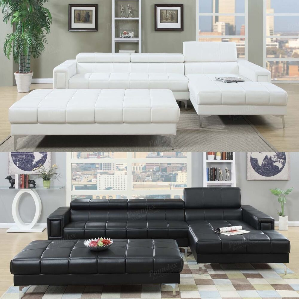 Reversible Sectional Sofa White Bonded Leather Match Sofas: 3 PC Black White Bonded Leather Tufted Sectional Sofa W/ X