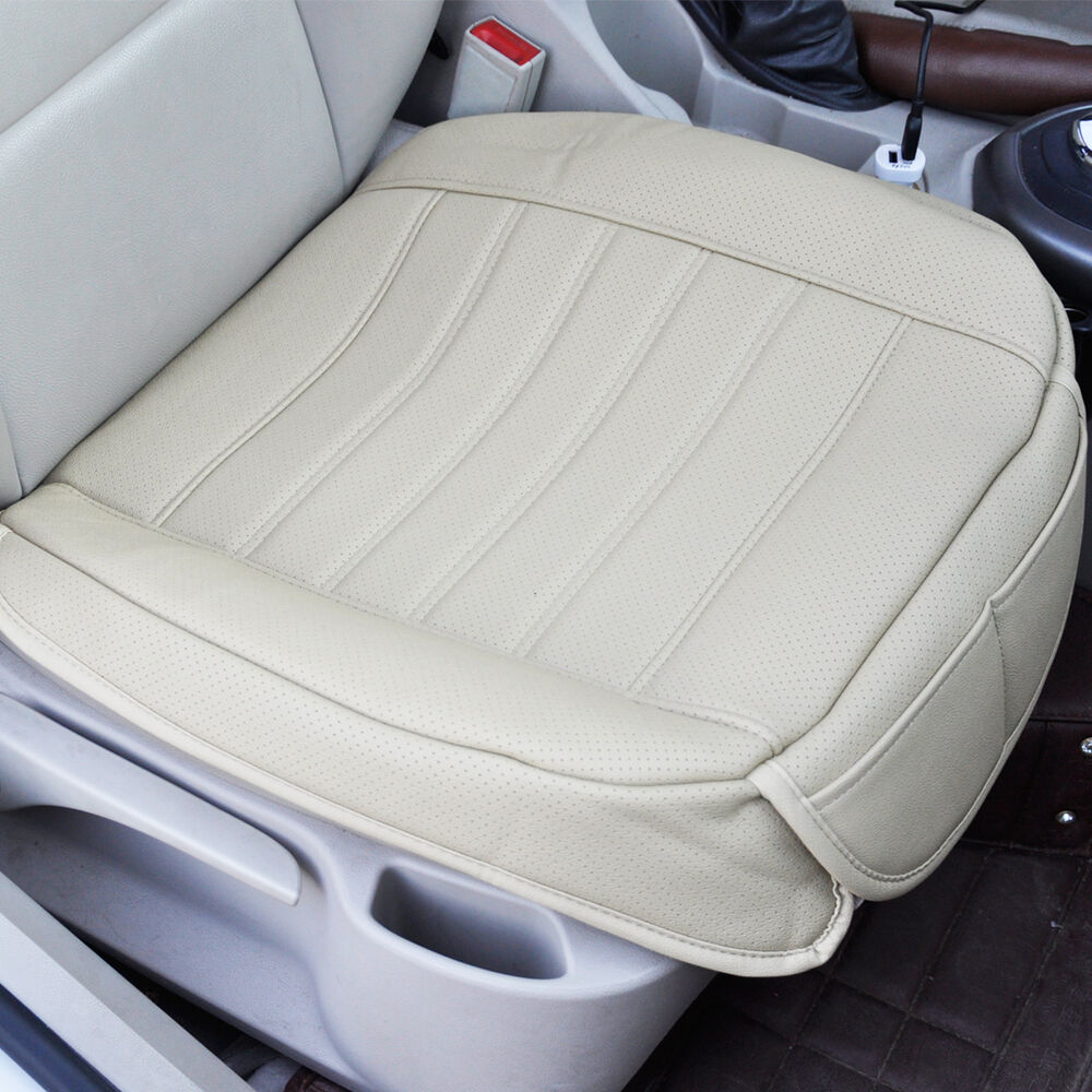 new universal beige car front seat cover breathable pu leather seat pad cushion ebay. Black Bedroom Furniture Sets. Home Design Ideas