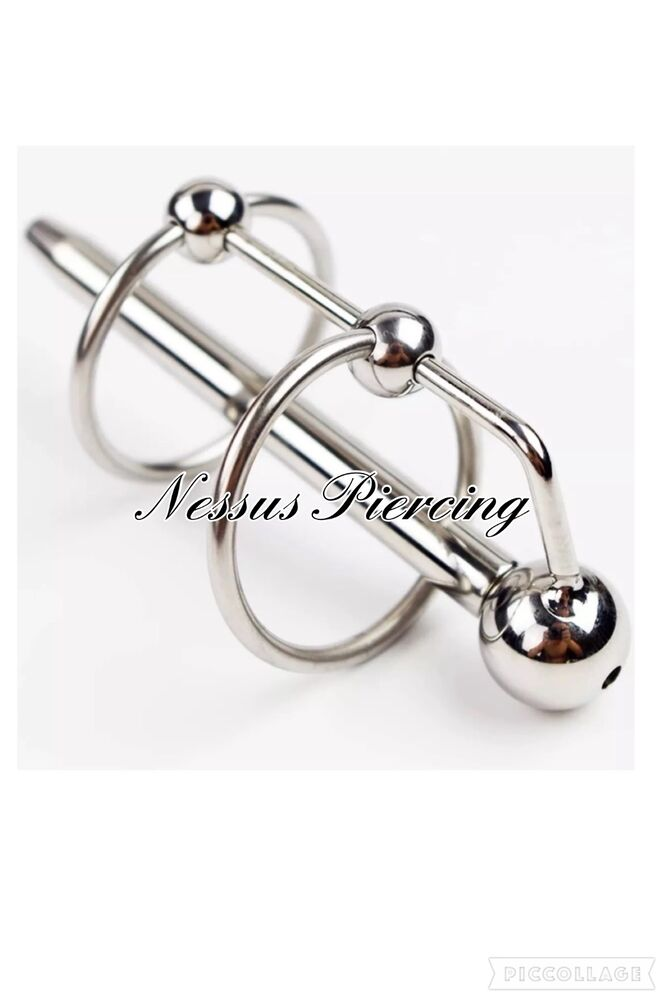Four Ring Prince Albert Wand Urethral Sound Piercing