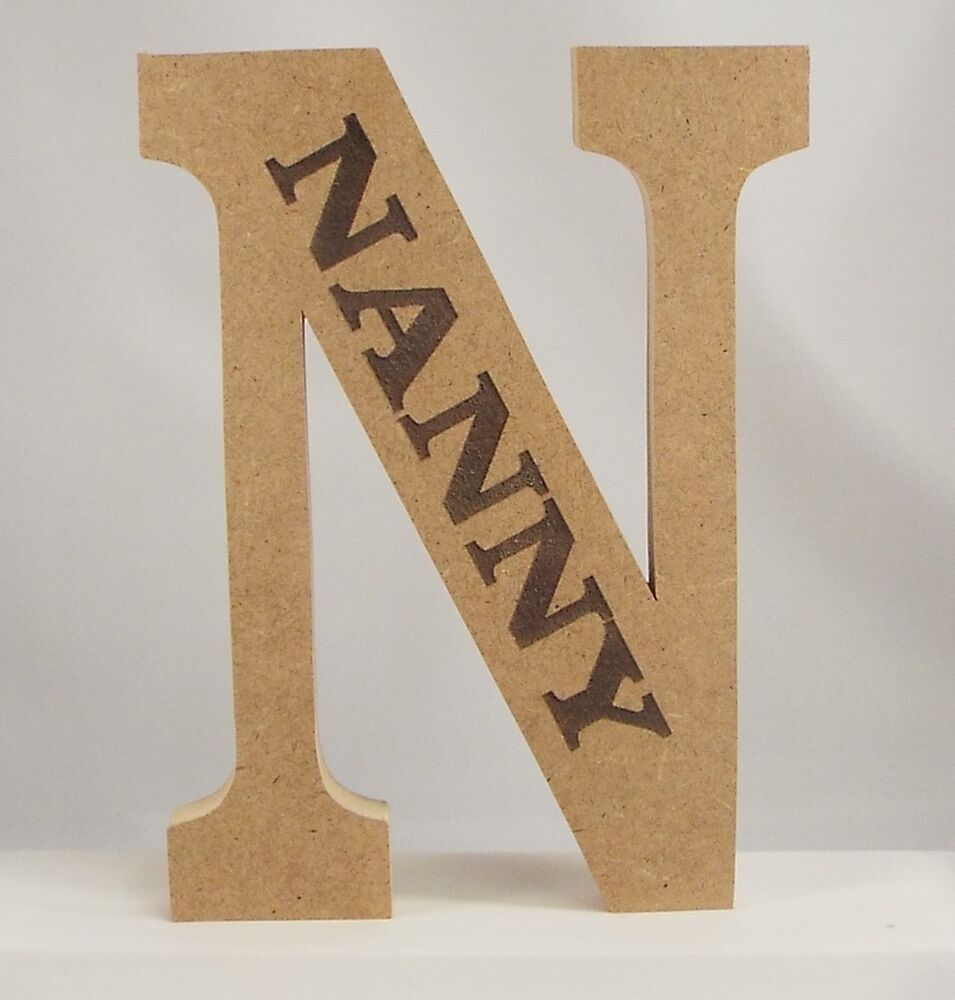 Free standing wooden engraved letters large 20 cm mdf ebay for Large freestanding wooden letters